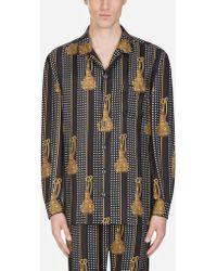 Pajama Shirt In Printed Silk - Black