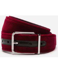 Dolce & Gabbana Velvet Belt - Rojo