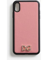 Dolce & Gabbana Iphone Xs Max Cover In Dauphine Calfskin With Crystal Logo - Pink