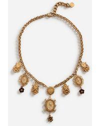 Dolce & Gabbana Short Necklace With Decorative Details - Mettallic