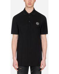 Dolce & Gabbana Cotton Polo-Shirt With Dg Patch - Noir