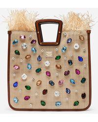 Dolce & Gabbana Beatrice Shopper Aus Tropea-Stroh Mit Schmuckstickerei - Braun