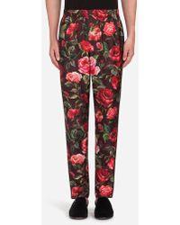 Dolce & Gabbana - Pantalons De Pyjama En Soie Imprimée - Lyst