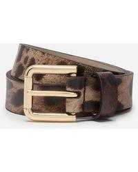 Dolce & Gabbana Calfskin Belt With Leopard Print - Brown