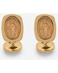 Dolce & Gabbana Devotion Yellow Gold Cufflinks With A Red Gold Virgin Mary Medallion - Mettallic