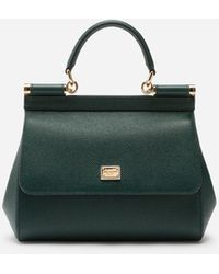 Dolce & Gabbana Medium Dauphine Leather Sicily Bag - Green