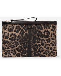 Dolce & Gabbana Flat Beauty Case In Jacquard Raffia With Leopard Print - Multicolor