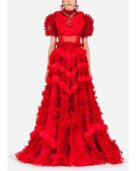 Dolce & Gabbana - Kleid Aus Seidenorganza - Lyst