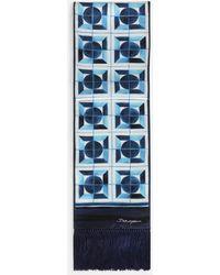 Dolce & Gabbana Silk Majolica-print Scarf - Blue