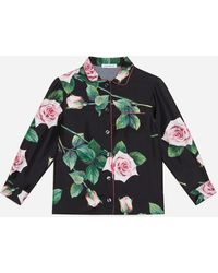 Dolce & Gabbana Silk Pyjama Top With Tropical Rose Print - Multicolour