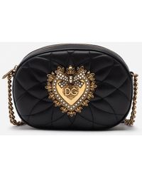 Dolce & Gabbana Devotion Camera Bag In Quilted Nappa Leather - Noir