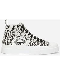Dolce & Gabbana - Canvas Portofino Light Mid-top Sneakers With Dg Logo Print - Lyst