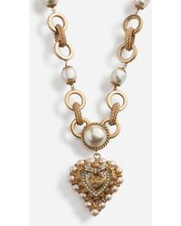 Dolce & Gabbana Short Necklace With Decorative Sacred Heart And Pearl Details - Metallic