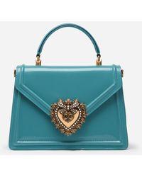 Dolce & Gabbana Medium Devotion Bag In Polished Calfskin - Azul