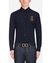 Dolce & Gabbana - Chemise De La Ligne Martini En Coton Avec Écusson - Lyst