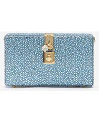 Dolce & Gabbana Dolce Box Clutch With Heat-Applied Rhinestones - Blu