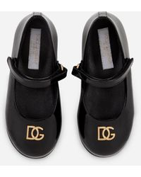 Dolce & Gabbana Patent Leather Mary Janes With Bow Detail - Black