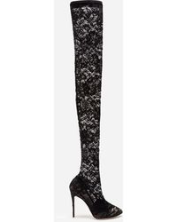 Dolce & Gabbana Cuissardes en dentelle stretch - Noir