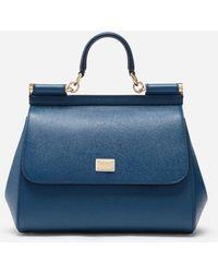 Dolce & Gabbana Medium Sicily Handbag In Dauphine Leather - Azul