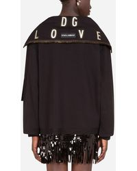 Dolce & Gabbana Jersey Sweatshirt With Heart Print And Ribbon Details - Black