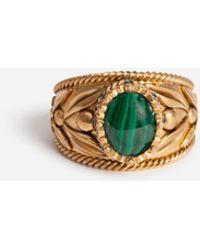 Dolce & Gabbana Metallring Mit Naturstein - Mettallic