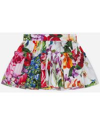 Dolce & Gabbana Poplin Skirt With Floral Print - Multicolour