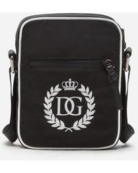 Dolce & Gabbana Borsa A Tracolla In Nylon Stampa Logo Dg - Nero