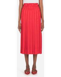 Dolce & Gabbana Longuette Skirt In Satin Jacquard - Rouge