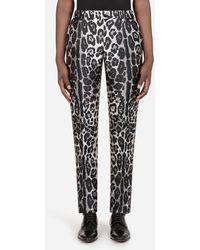 Dolce & Gabbana - Leopard-Print Jacquard Tuxedo Pants - Lyst