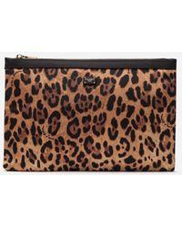 Dolce & Gabbana Large Flat Make-up Bag In Printed Nylon - Brown