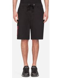 Dolce & Gabbana Stretch Cotton Jogging Shorts With Dg Patch - Nero