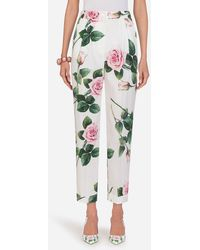 Dolce & Gabbana Tropical Rose Print Poplin Pants - Green