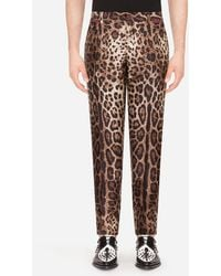 Dolce & Gabbana Silk Mikado Trousers With Leopard Print - Brown