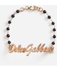 Dolce & Gabbana Gold Ball Logo Bracelet - Black