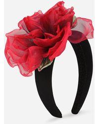 Dolce & Gabbana Silk Headband With Flower - Red