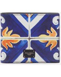 Dolce & Gabbana Cartera Plegada En Dos, De Becerro Dauphine Con Estampado Mayólico - Azul