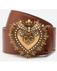 Dolce & Gabbana Leather Devotion Belt - Braun