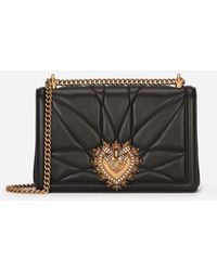 Dolce & Gabbana Large Devotion Bag In Quilted Nappa Leather - Schwarz