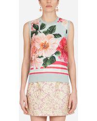 Dolce & Gabbana Camellia-print Silk And Twill Sweater - Multicolor