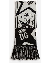 Dolce & Gabbana Wool And Cashmere Jacquard Millennials Star Scarf - Black