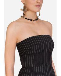 Dolce & Gabbana Woolen Fabric Pinstripe Midi Dress - Schwarz