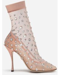 Dolce & Gabbana Stretch Tulle Ankle Boots With Rhinestone Embroidery - Natural