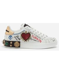 Dolce & Gabbana Printed Calfskin Nappa Portofino Sneakers With Patch And Embroidery - Blanc
