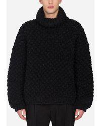 Dolce & Gabbana Oversized Wool Turtle-Neck Sweater - Nero