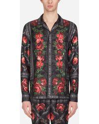 Dolce & Gabbana Pyjamahemd Aus Seide Mit Rosen-Print - Mehrfarbig
