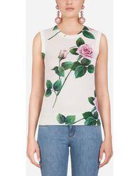Dolce & Gabbana Rundhalspullover Mit Tropischem Rosendruck - Grün