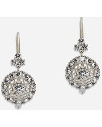 Dolce & Gabbana Sicily Earrings In White Gold With Diamonds - Multicolore