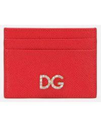 Dolce & Gabbana Dauphine Calfskin Card Holder With Rhinestone Dg Logo - Rot