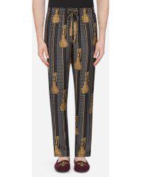 Pajama Pants In Printed Silk - Black