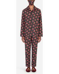Dolce & Gabbana Miniature Rose-print Pajama Set With Matching Face Mask - Multicolor